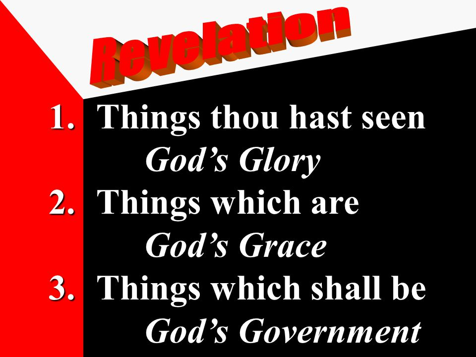 1.Things thou hast seen God's Glory 2.Things which are God's Grace 3.Things which shall be God's Government