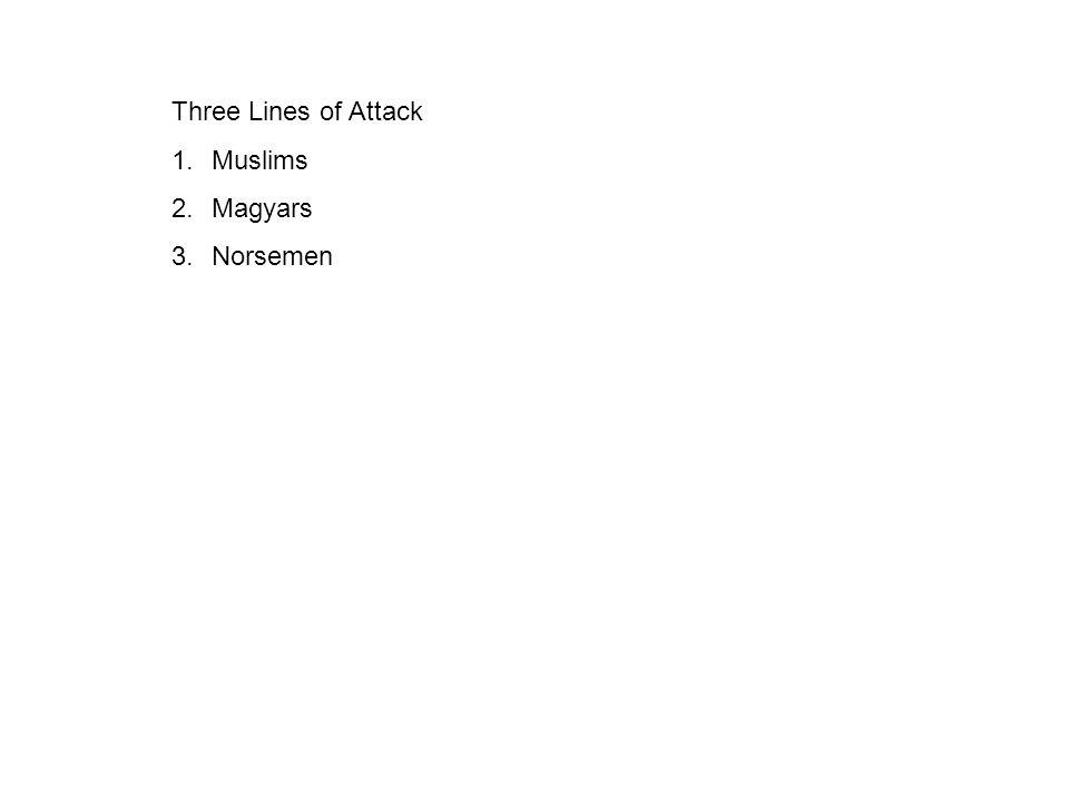 Three Lines of Attack 1.Muslims 2.Magyars 3.Norsemen