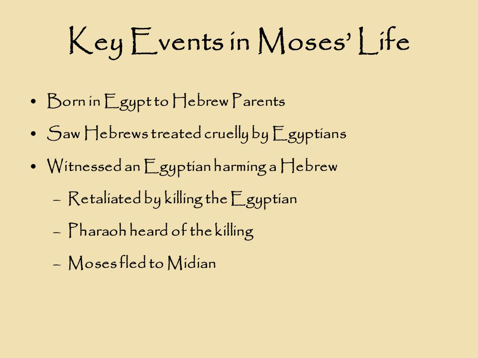 Key Events in Moses' Life Born in Egypt to Hebrew Parents Saw Hebrews treated cruelly by Egyptians Witnessed an Egyptian harming a Hebrew –Retaliated by killing the Egyptian –Pharaoh heard of the killing –Moses fled to Midian