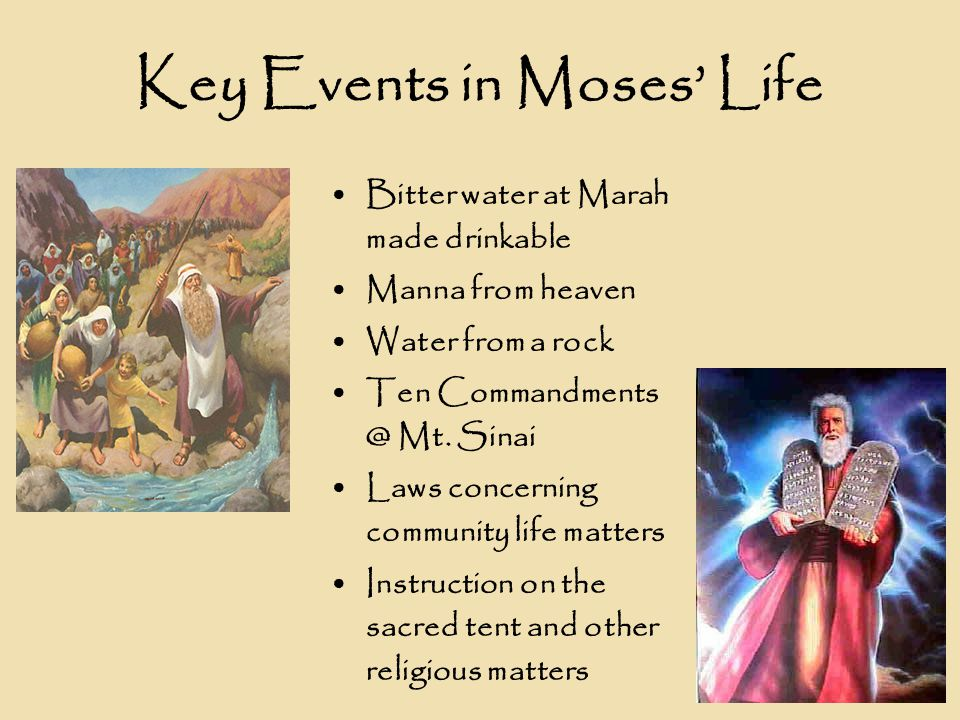 Key Events in Moses' Life Bitter water at Marah made drinkable Manna from heaven Water from a rock Ten Commandments @ Mt.