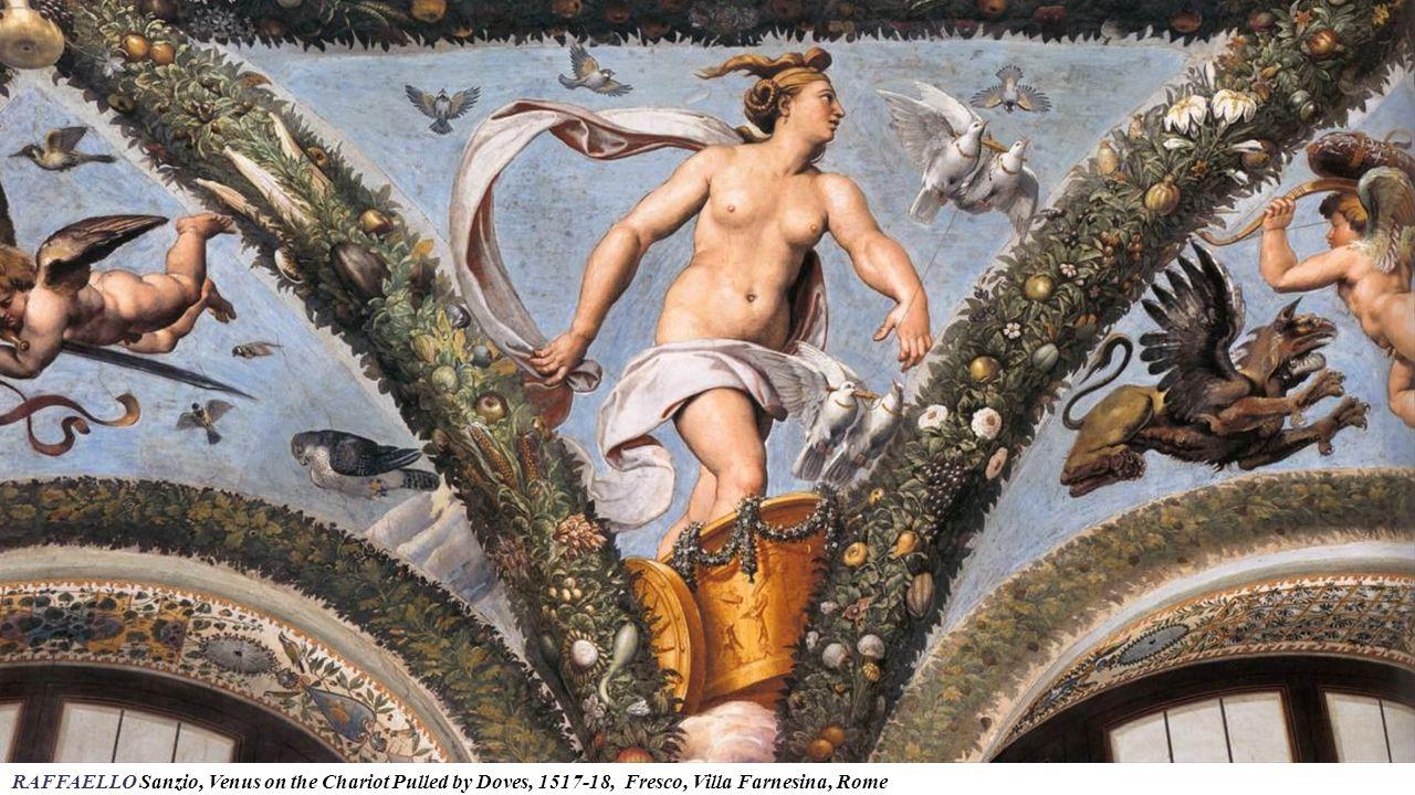 RAFFAELLO Sanzio, Venus on the Chariot Pulled by Doves, 1517-18, Fresco, Villa Farnesina, Rome