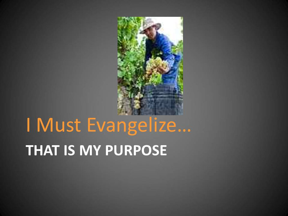 THAT IS MY PURPOSE I Must Evangelize…
