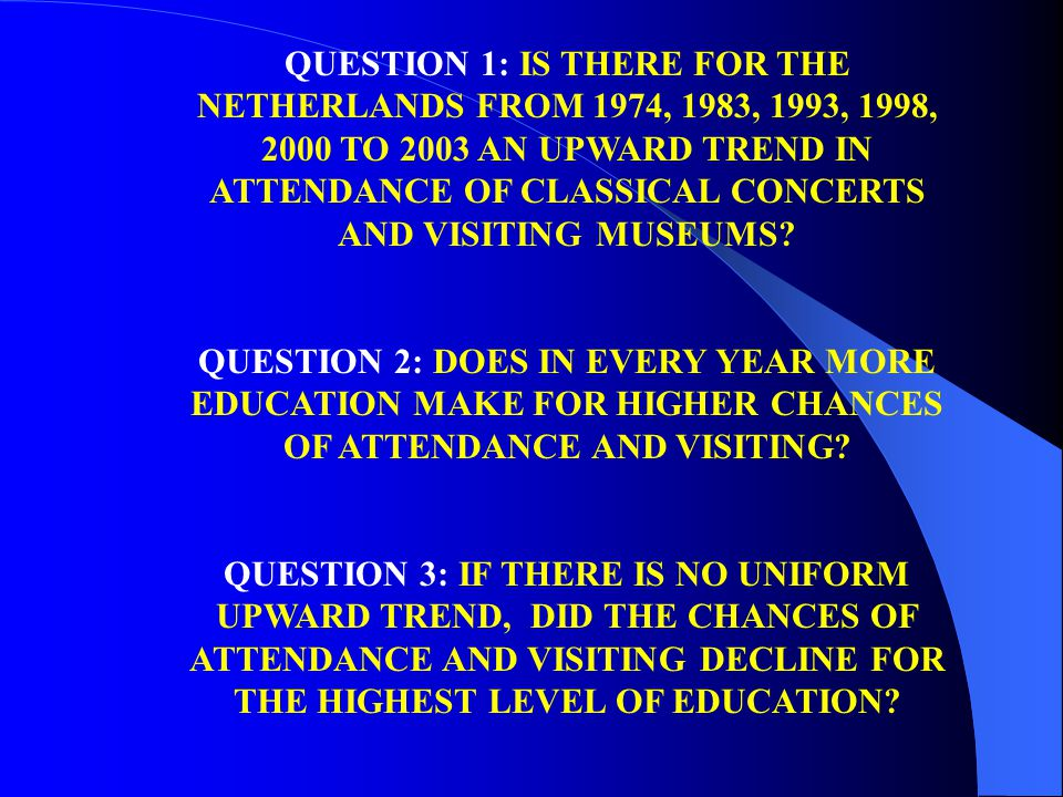 QUESTION 1: IS THERE FOR THE NETHERLANDS FROM 1974, 1983, 1993, 1998, 2000 TO 2003 AN UPWARD TREND IN ATTENDANCE OF CLASSICAL CONCERTS AND VISITING MU