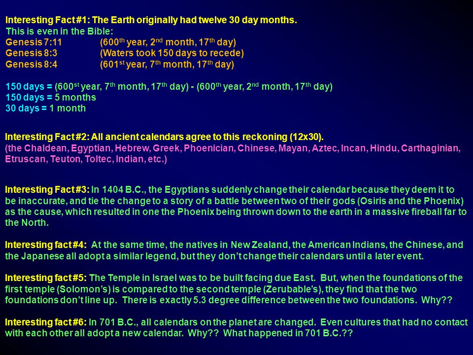 Interesting Fact #1: The Earth originally had twelve 30 day months.