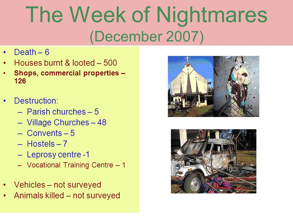 The Week of Nightmares (December 2007) Death – 6 Houses burnt & looted – 500 Shops, commercial properties – 126 Destruction: –Parish churches – 5 –Village Churches – 48 –Convents – 5 –Hostels – 7 –Leprosy centre -1 –Vocational Training Centre – 1 Vehicles – not surveyed Animals killed – not surveyed
