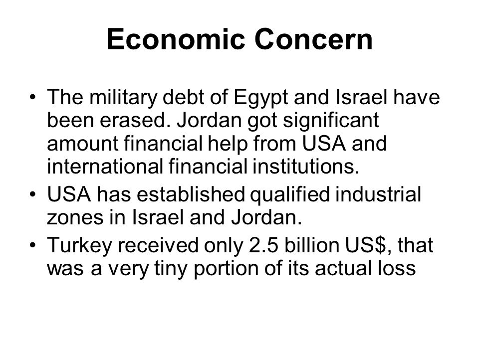 Economic Concern The military debt of Egypt and Israel have been erased.