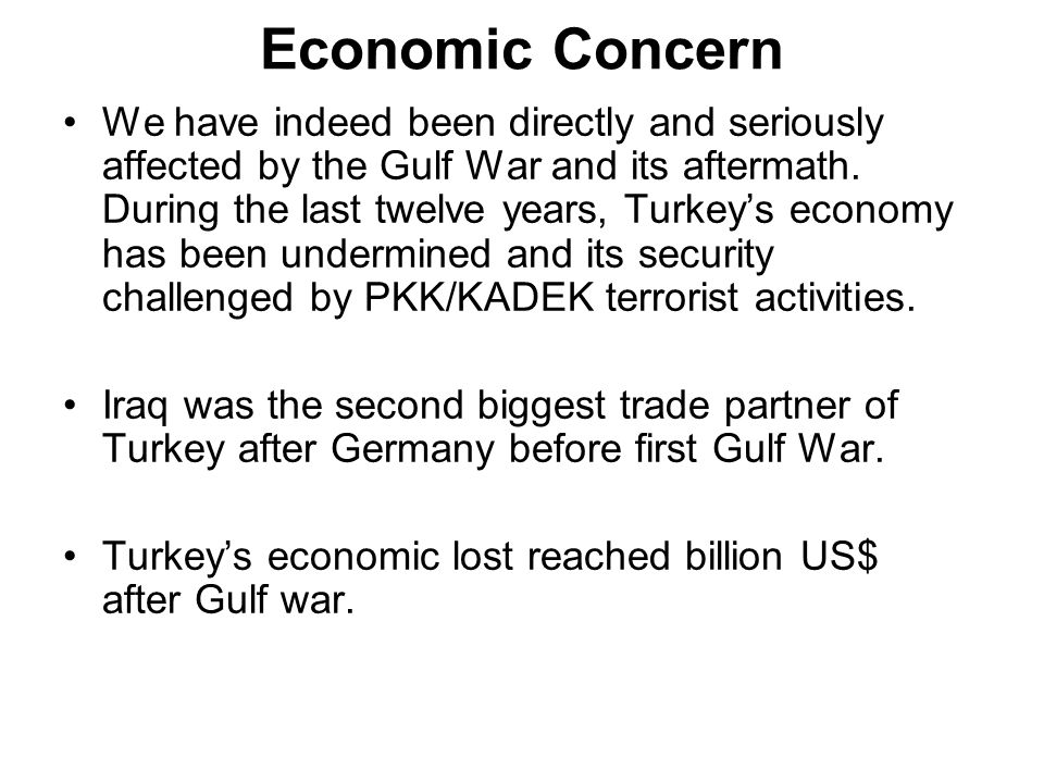 Economic Concern We have indeed been directly and seriously affected by the Gulf War and its aftermath.