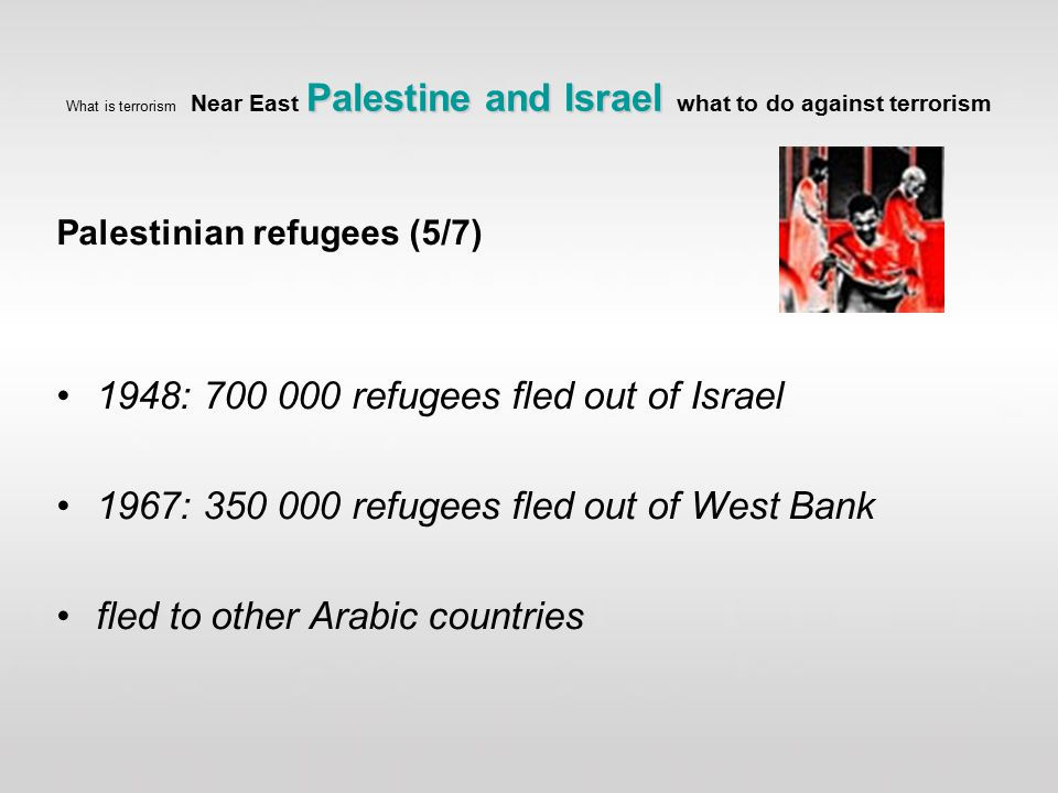 Palestinian refugees (5/7) 1948: 700 000 refugees fled out of Israel 1967: 350 000 refugees fled out of West Bank fled to other Arabic countries Palestine and Israel What is terrorism Near East Palestine and Israel what to do against terrorism