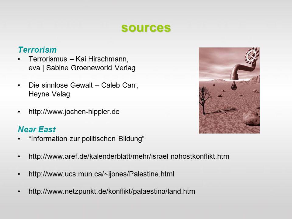 sources Terrorism Terrorismus – Kai Hirschmann, eva | Sabine Groeneworld Verlag Die sinnlose Gewalt – Caleb Carr, Heyne Velag http://www.jochen-hippler.de Near East Information zur politischen Bildung http://www.aref.de/kalenderblatt/mehr/israel-nahostkonflikt.htm http://www.ucs.mun.ca/~ijones/Palestine.html http://www.netzpunkt.de/konflikt/palaestina/land.htm