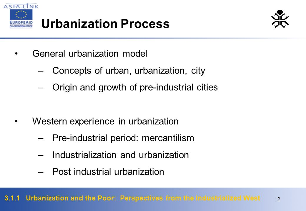 3.1.1 Urbanization and the Poor: Perspectives from the Industrialized West 2 General urbanization model –Concepts of urban, urbanization, city –Origin