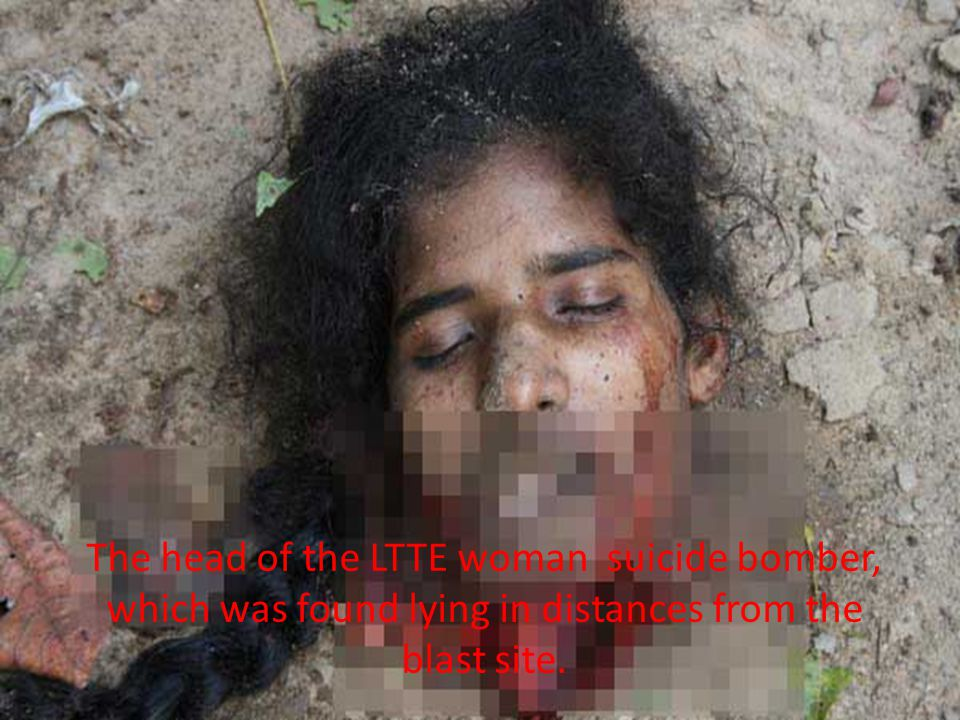 The head of the LTTE woman suicide bomber, which was found lying in distances from the blast site.