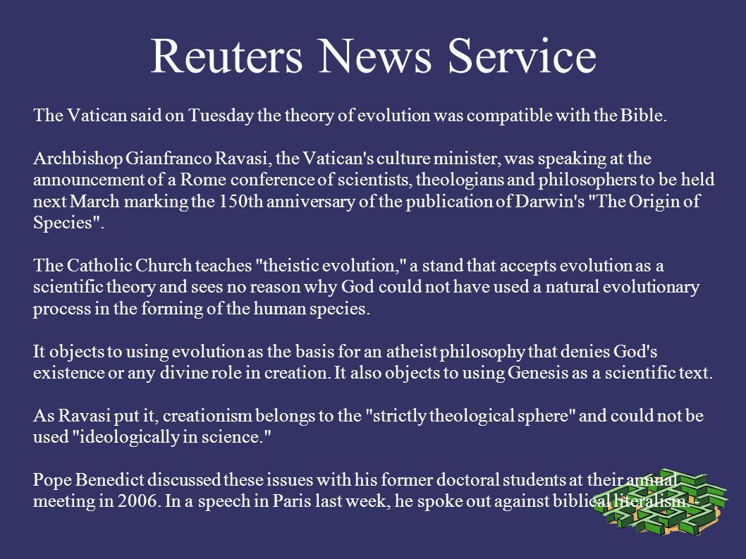 Reuters News Service The Book of Revelation should not be read as a frightening or enigmatic warning, but as an essentially encouraging vision of Christ s definitive victory over evil, Pope Benedict XVI said.