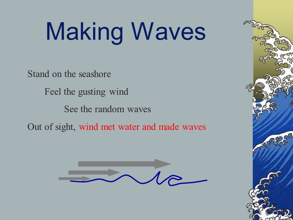 Making Waves Stand on the seashore Feel the gusting wind See the random waves Out of sight, wind met water and made waves