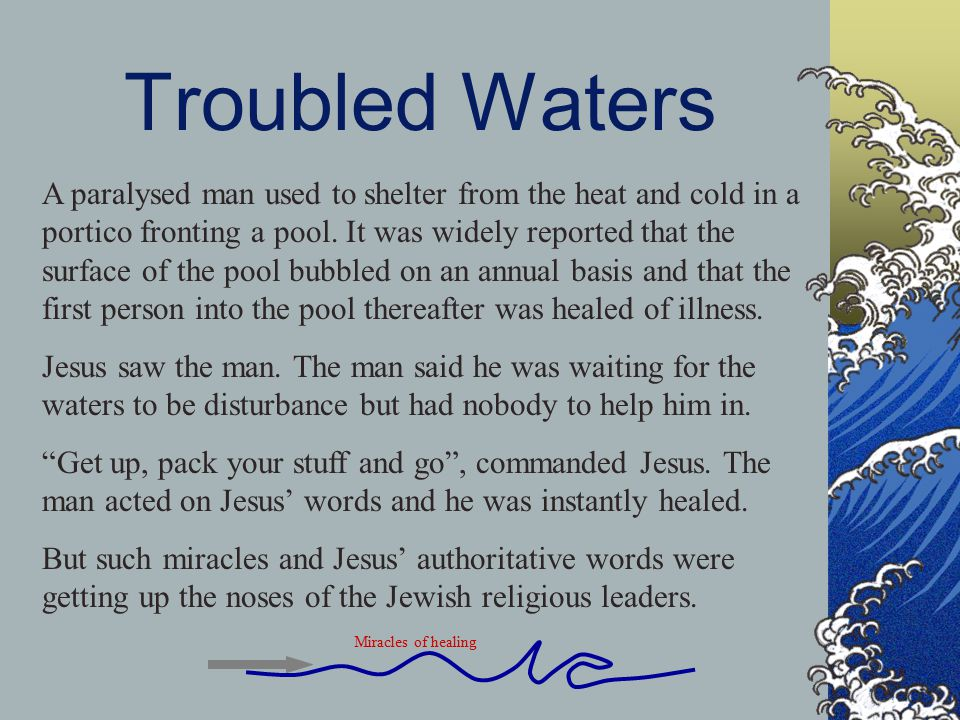 Troubled Waters A paralysed man used to shelter from the heat and cold in a portico fronting a pool.