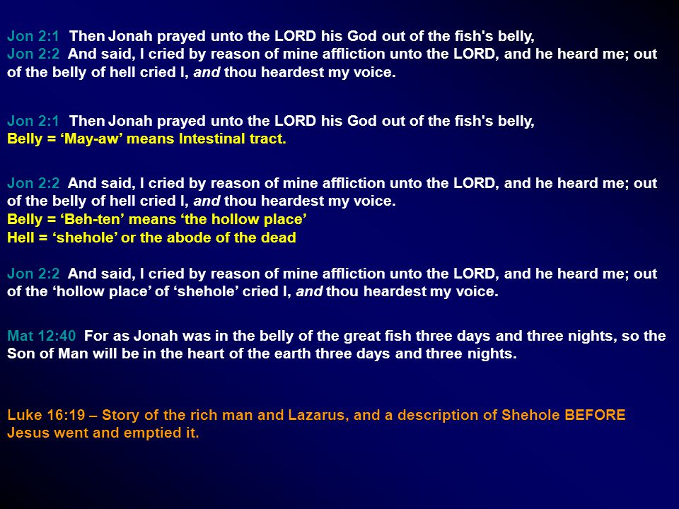Jon 2:1 Then Jonah prayed unto the LORD his God out of the fish's belly, Jon 2:2 And said, I cried by reason of mine affliction unto the LORD, and he