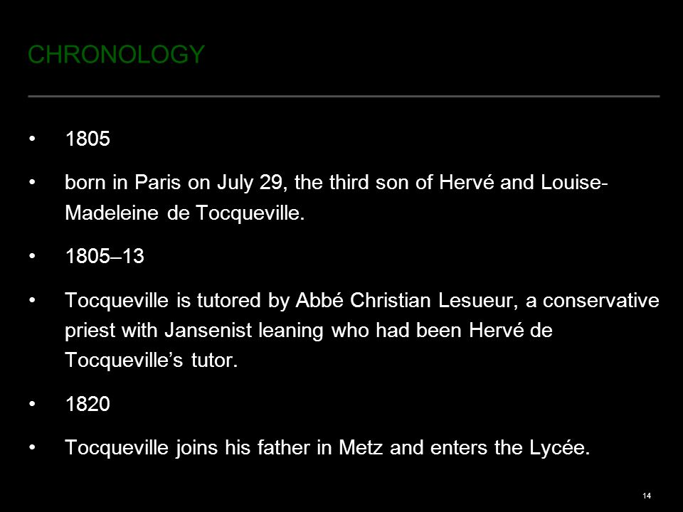 14 CHRONOLOGY 1805 born in Paris on July 29, the third son of Hervé and Louise- Madeleine de Tocqueville.