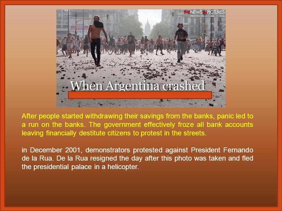 The Argentinean government's practice of printing money to pay its public debt crushed their economy Inflation hit 3000%, reminiscent of the German Weimar Republic (1918-33) Food riots became rampant, stores were looted, the country descended into chaos God's word was openly challenged and impugned, distorted, and idled – even with the consent of aggressive religions feuding over their share of money demands to enforce tithing Horse-mounted police intimidate, abuse, and murder protestors in Buenos Aires.
