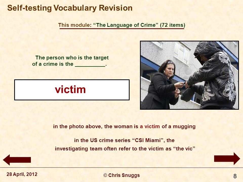 This module: The Language of Crime (72 items) © Chris Snuggs 28 April, 2012 Self-testing Vocabulary Revision 9 The person who commits a crime, the guilty person, is often called the _________.