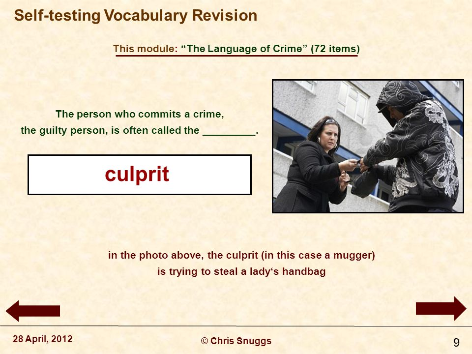 This module: The Language of Crime (72 items) © Chris Snuggs 28 April, 2012 Self-testing Vocabulary Revision 10 We don't say to do a crime, but to __________ one.