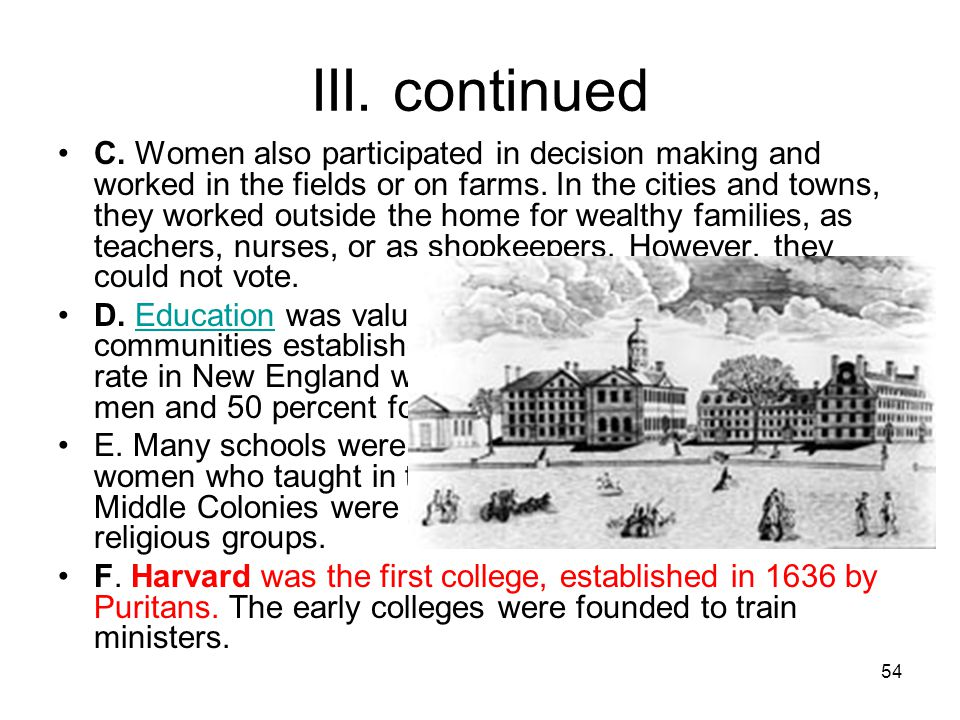 54 III. continued C. Women also participated in decision making and worked in the fields or on farms. In the cities and towns, they worked outside the