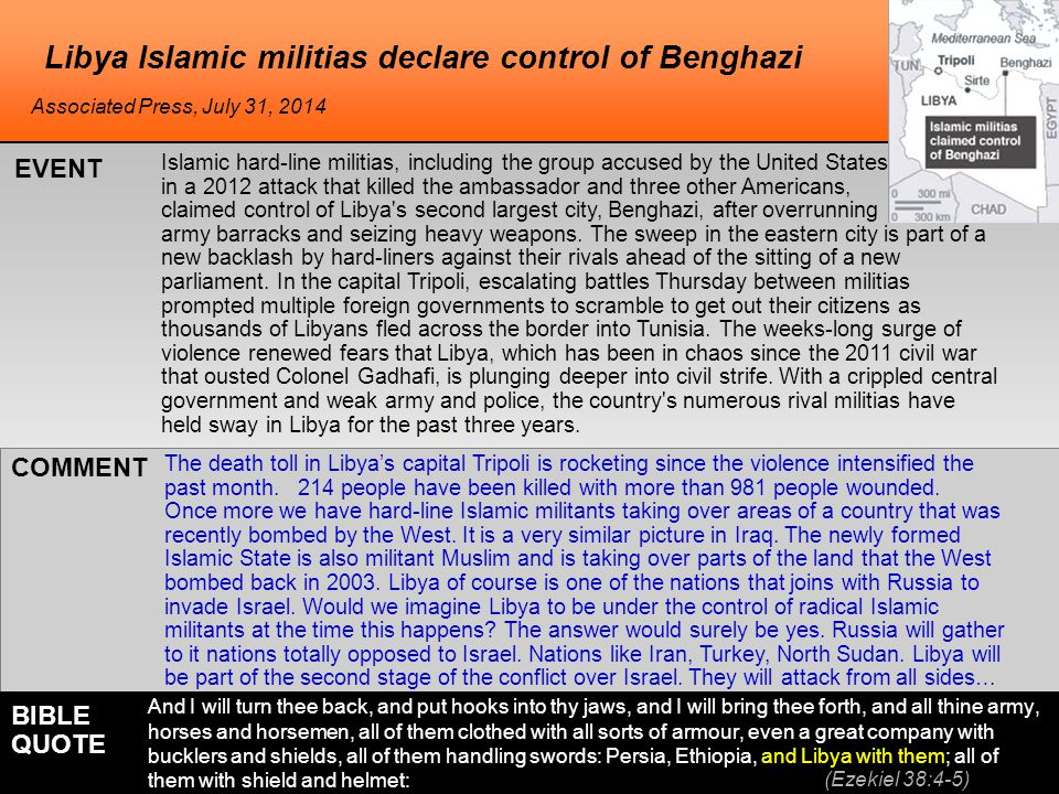 he Libya Islamic militias declare control of Benghazi Islamic hard-line militias, including the group accused by the United States in a 2012 attack that killed the ambassador and three other Americans, claimed control of Libya s second largest city, Benghazi, after overrunning army barracks and seizing heavy weapons.