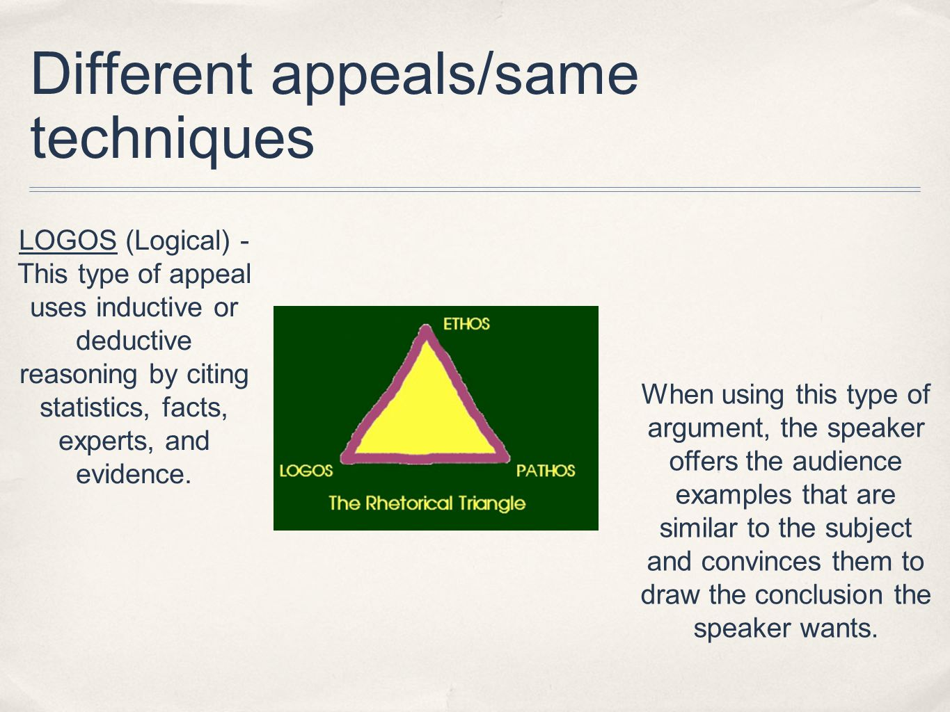 Different appeals/same techniques LOGOS (Logical) - This type of appeal uses inductive or deductive reasoning by citing statistics, facts, experts, and evidence.