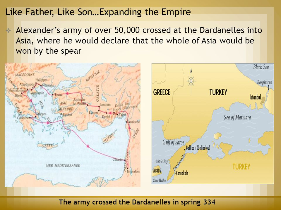 Like Father, Like Son…Expanding the Empire  Alexander's army of over 50,000 crossed at the Dardanelles into Asia, where he would declare that the who