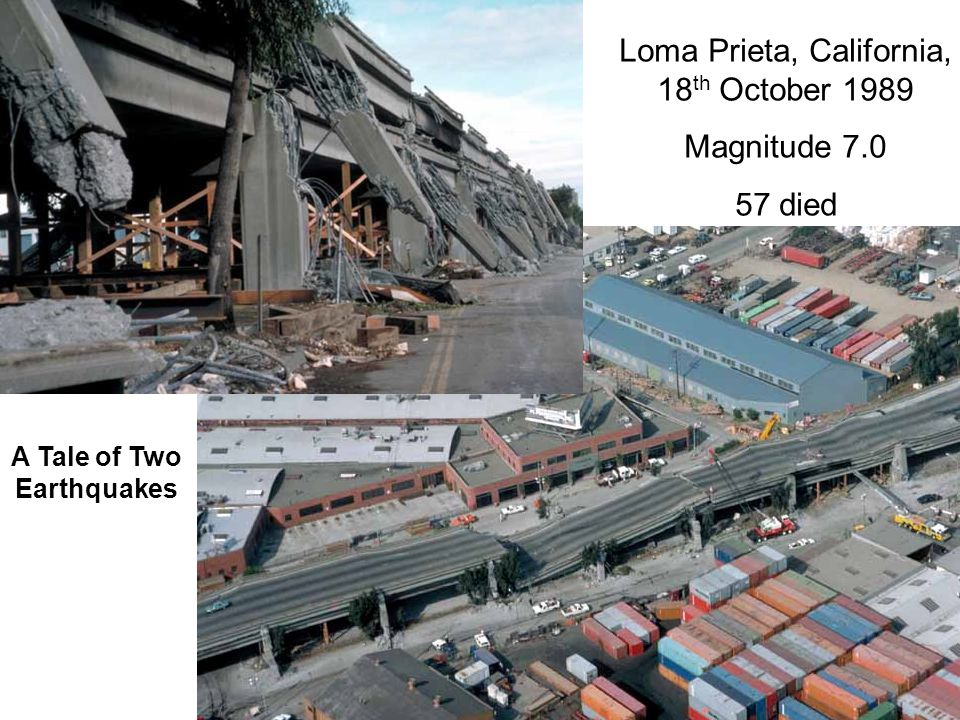 Loma Prieta, California, 18 th October 1989 Magnitude 7.0 57 died A Tale of Two Earthquakes