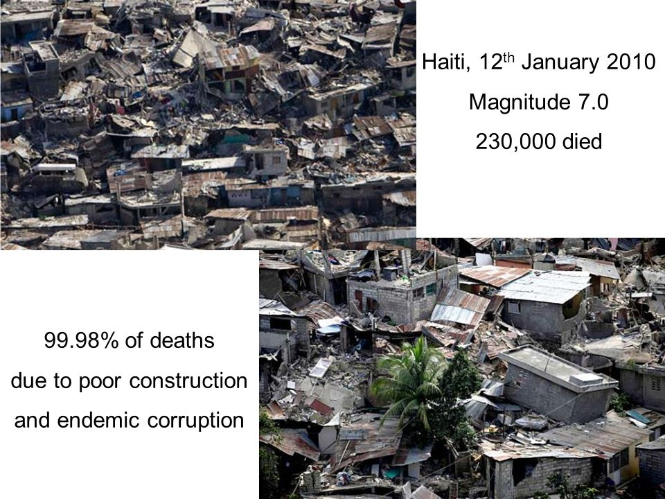 Haiti, 12 th January 2010 Magnitude 7.0 230,000 died 99.98% of deaths due to poor construction and endemic corruption