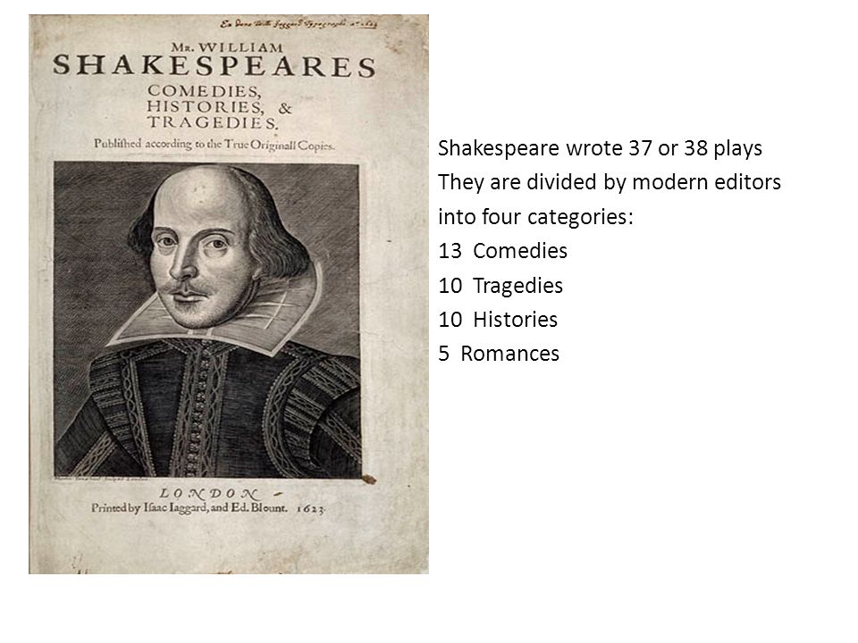 Shakespeare wrote 37 or 38 plays They are divided by modern editors into four categories: 13 Comedies 10 Tragedies 10 Histories 5 Romances