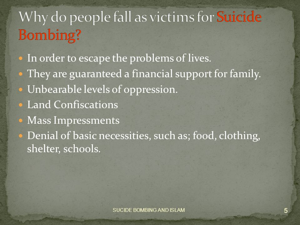 Islam (Submission) condemns suicide as much as it condemns brutality and aggression against others.