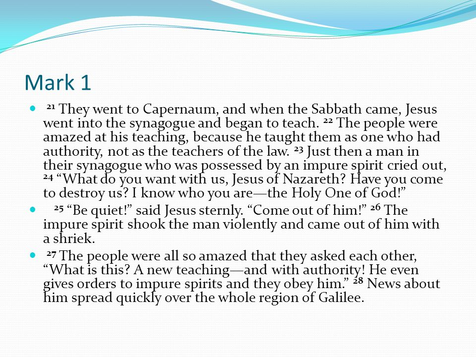Mark 1 32 That evening after sunset the people brought to Jesus all the sick and demon-possessed.