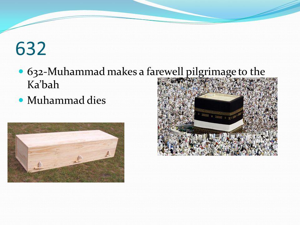 632 632-Muhammad makes a farewell pilgrimage to the Ka'bah Muhammad dies