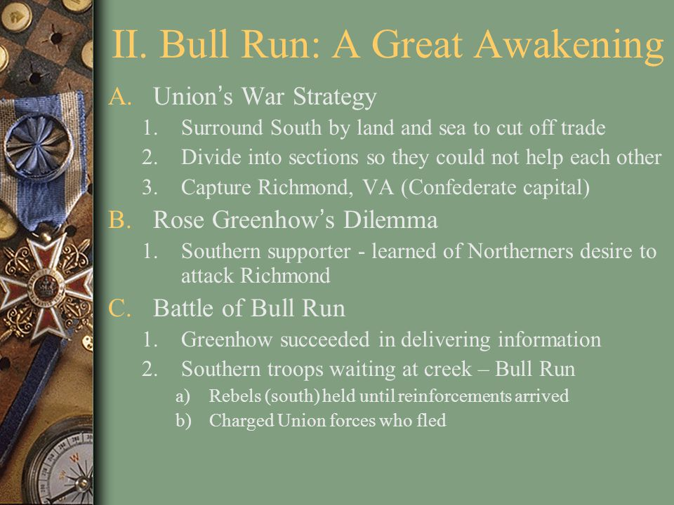 II. Bull Run: A Great Awakening A.Union's War Strategy 1.Surround South by land and sea to cut off trade 2.Divide into sections so they could not help