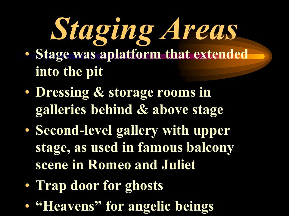 Staging Areas Stage was aplatform that extended into the pit Dressing & storage rooms in galleries behind & above stage Second-level gallery with uppe