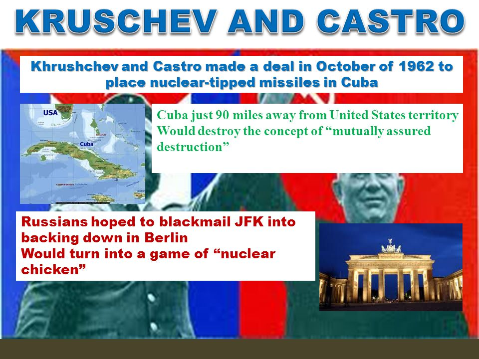 Kennedy also, though, took a tough stance in regards to FIDEL CASTRO'S communist Cuban nation Inherited from Dwight Eisenhower a plan to topple Fidel Castro with Cuban exiles Worked up and planned by the CIA Known as the BAY OF PIGS invasion US was to help exiles overthrow Castro, but invasion went bad and Kennedy did not act Actions like the attempted overthrow of Castro and repeated assassination attempts pushed Castro even more further towards a friendship with the Soviet Union Soviet leader Khurshchev was quick to seize upon the opportunity