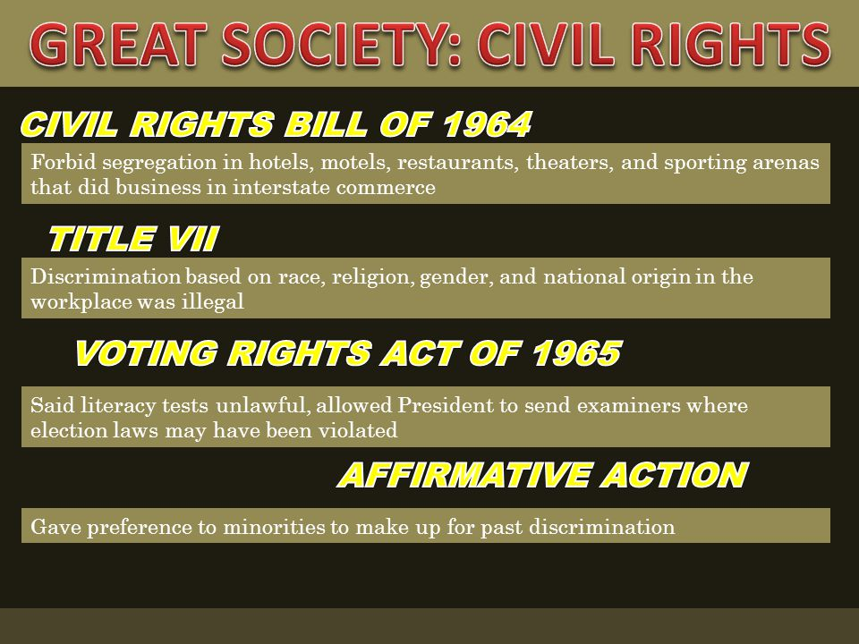 What programs made up the Great Society initiative .