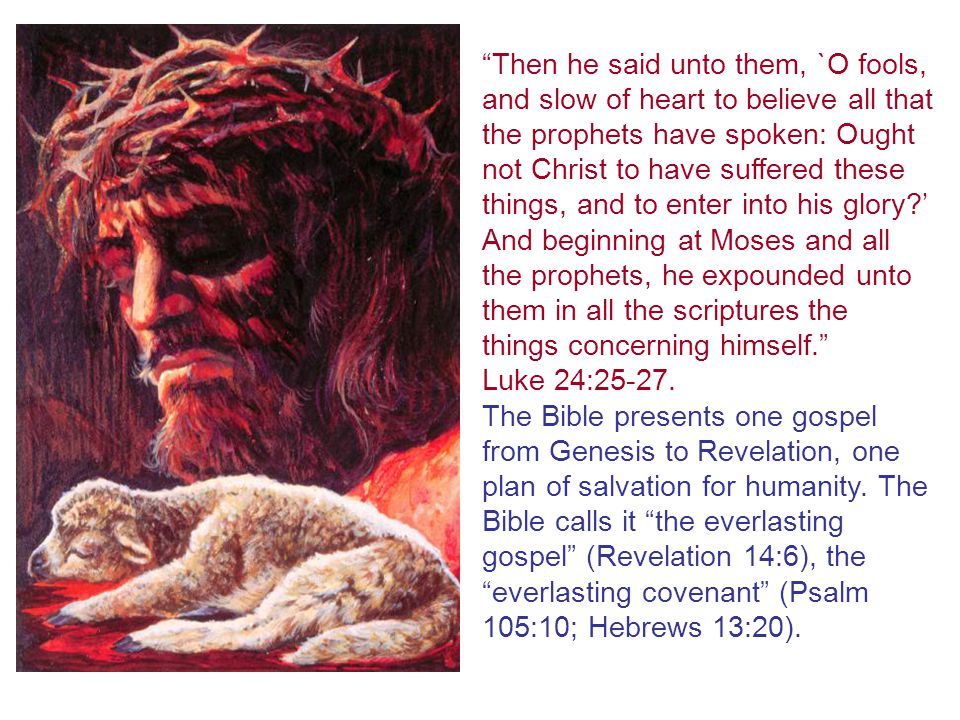 Then he said unto them, `O fools, and slow of heart to believe all that the prophets have spoken: Ought not Christ to have suffered these things, and to enter into his glory?' And beginning at Moses and all the prophets, he expounded unto them in all the scriptures the things concerning himself. Luke 24:25-27.