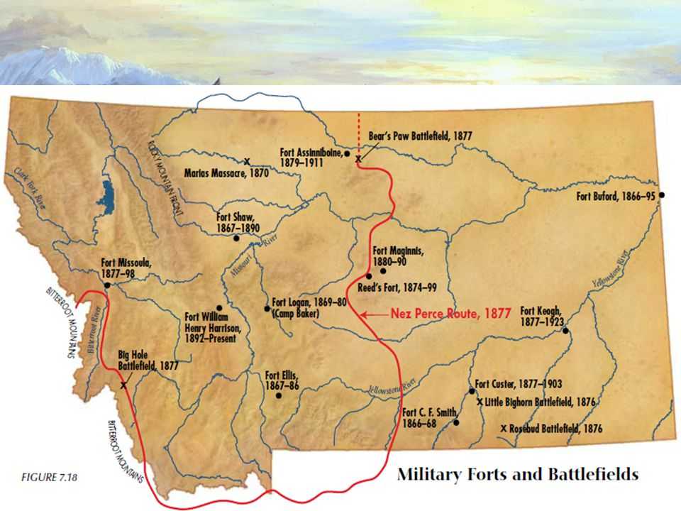 The Trail Ends The Nez Perce also retreated – moving through Yellowstone, then heading straight north for Canada.