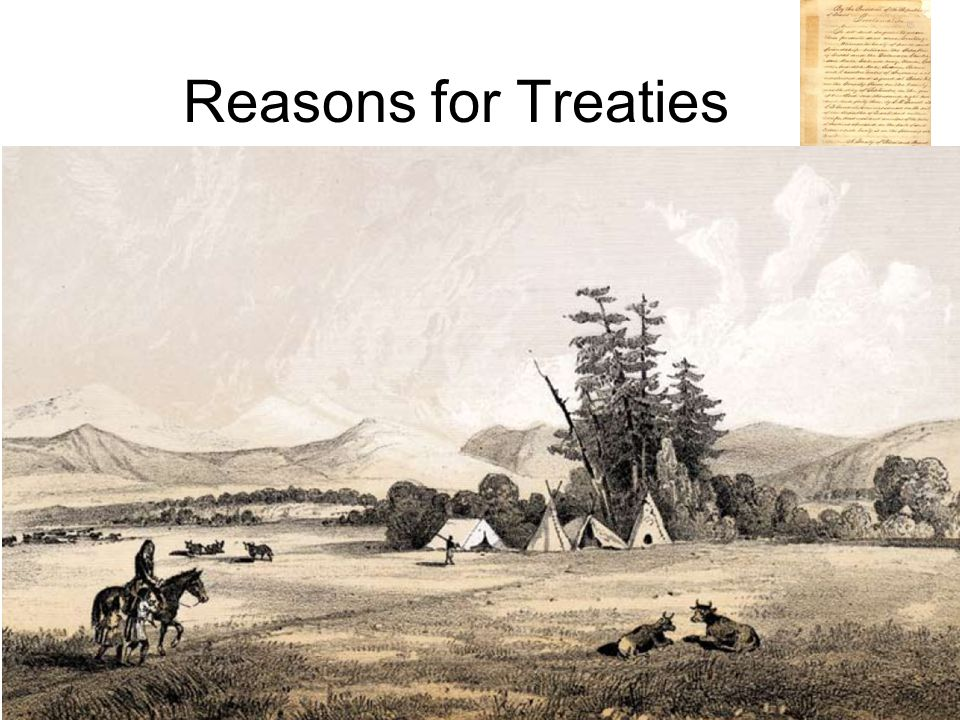 Reasons for Treaties Each tribe had its own hopes when signing treaties: –Each wanted to maintain or increase its territory and power and to preserve its people's way of life.
