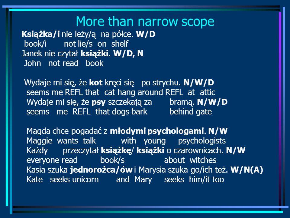 More than narrow scope Książka/i nie leży/ą na półce.
