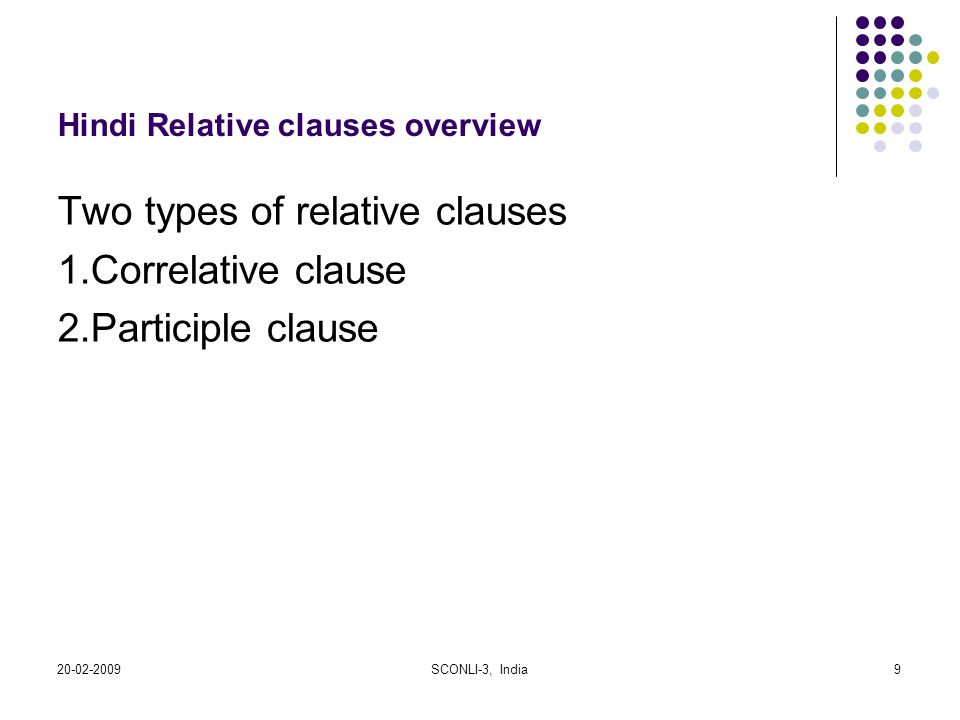 20-02-2009SCONLI-3, India9 Hindi Relative clauses overview Two types of relative clauses 1.Correlative clause 2.Participle clause