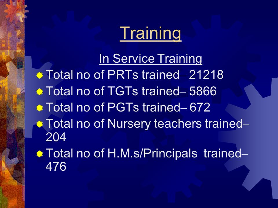 Training In Service Training  Total no of PRTs trained – 21218  Total no of TGTs trained – 5866  Total no of PGTs trained – 672  Total no of Nurse