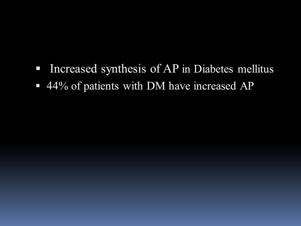  Increased synthesis of AP in Diabetes mellitus  44% of patients with DM have increased AP