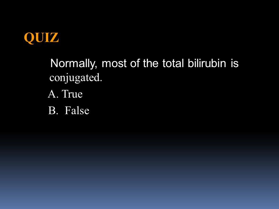 QUIZ Normally, most of the total bilirubin is conjugated. A. True B. False