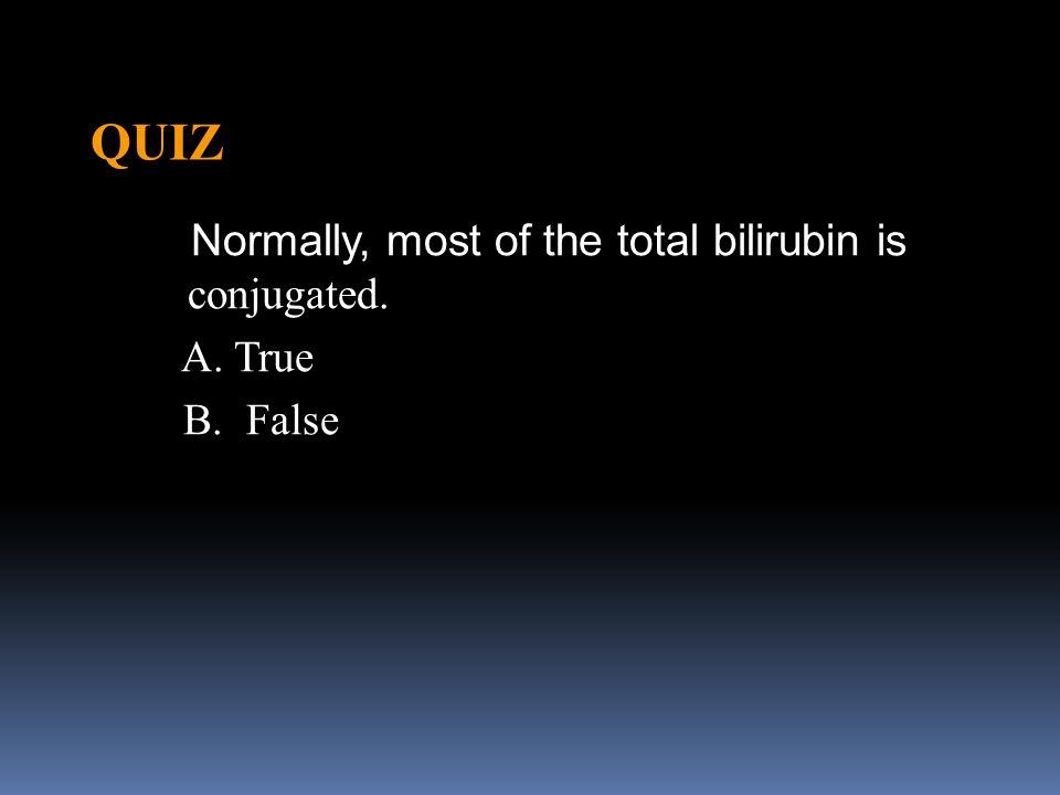 QUIZ Normally, most of the total bilirubin is conjugated. A. True B. False