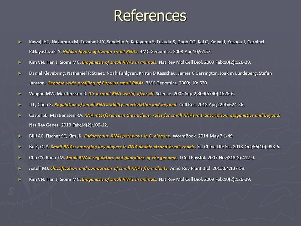 References ► Kawaji H1, Nakamura M, Takahashi Y, Sandelin A, Katayama S, Fukuda S, Daub CO, Kai C, Kawai J, Yasuda J, Carninci P,Hayashizaki Y. Hidden