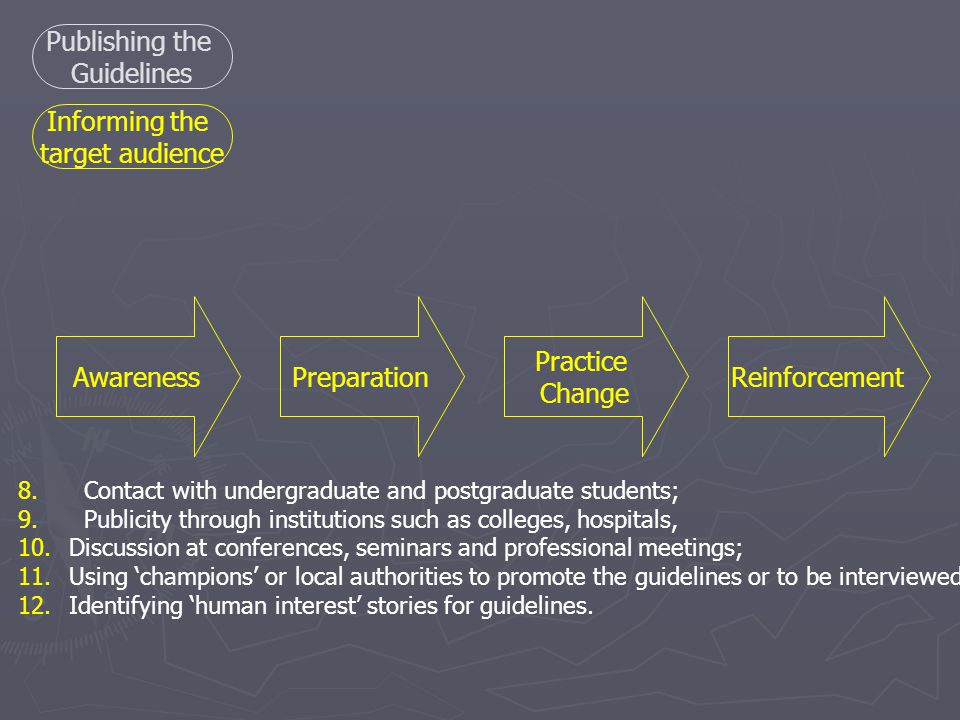 8.Contact with undergraduate and postgraduate students; 9.