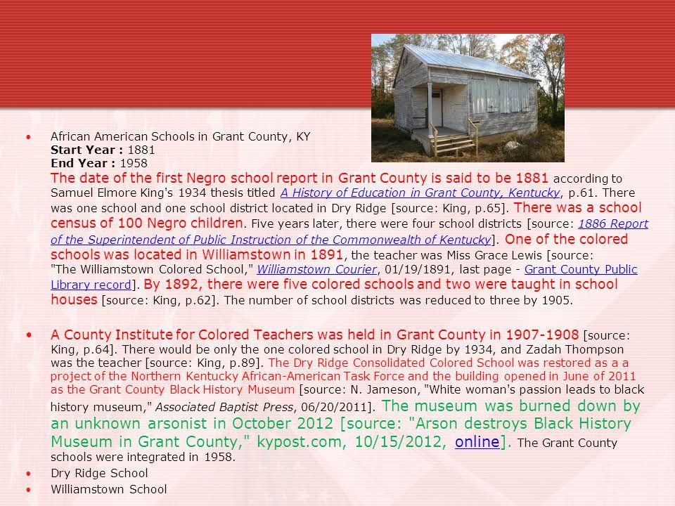 Rosenwald School- Segregated Grant County Consolidated Colored School.