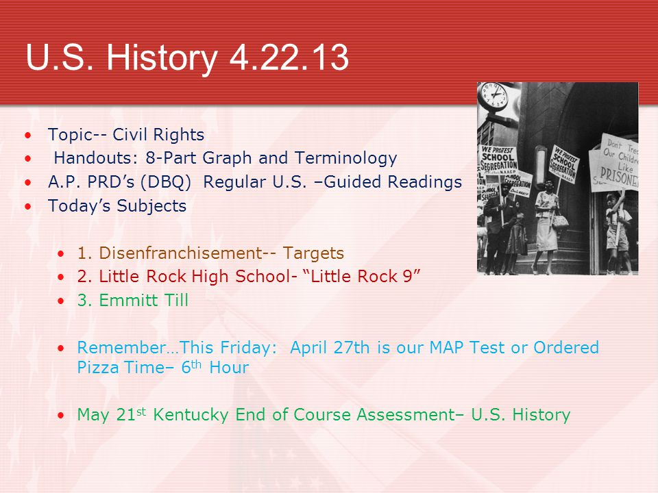 A.P.U.S.History 4.22.13 Topic-- Civil Rights Handouts: 8-Part Graph and Terminology A.P.